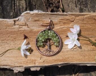 Peridot Tree of Life Pendant Copper
