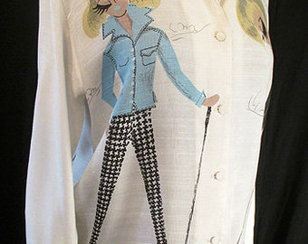 "Adorable 1960's Novelty Print Silk/Rayon blouse with Bold Images of Cute Golfing Ladies designed by ""Adelaar"" Size medium"