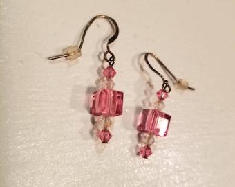 Swarovski Pink Crystal Drop Earrings
