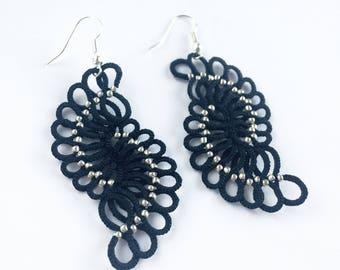 Black lace earrings, Tatting earrings, Tatted jewelry, Black lace jewelry, Statement earrings, Black Silver beaded earrings, Black earrings