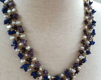 1990s HSN 3 Strand BLUE LAPIS Pearl Black Onyx Amethyst Necklace Retired nos
