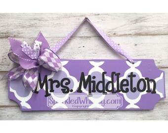 Teacher Gift: Personalized Teacher Name Sign, Classroom Decoration, Teacher Gift, End of Year Gift, Office Decor (Purple/Wisteria)