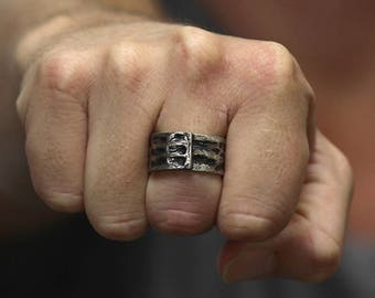 Silver Man Ring Adjustable Textured Rings Personalized Jewelry for Men Cool Rustic Jewellery
