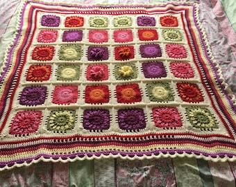 Flower garden baby / cot blanket / Afghan / throw