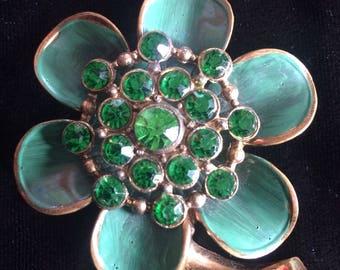 Vintage Green Floral Brooch with Green Rhinestones.