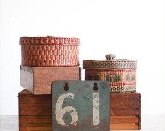 2 Vintage Woven Grass Baskets / Native Basket / Lidded Basket / Boho Decor