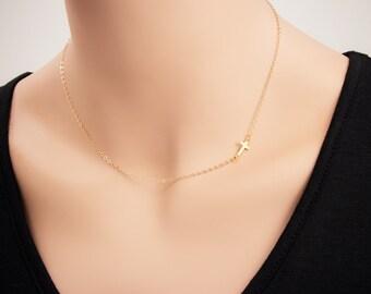 Gold Sideways Cross Necklace - 24k Gold Horizontal Sideways Cross Necklace, Petite Cross, Religious Jewelry, Celebrity Inspired Jewelry