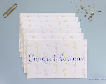 Congratulations card 6 pack, champagne congratulations card, congrats, pink champagne, white champagne