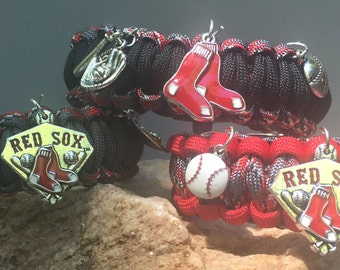 Boston Red Sox Paracord Bracelet, stainless steel buckle, 2 antique silver enameled charms