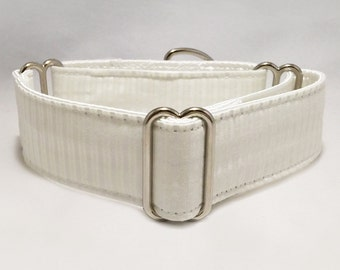 1.5 or 2 inch Martingale Collar, White with Stripes Wedding Martingale Collar, Choose Nickel or Brass Hardware, Greyhound Martingale Collar