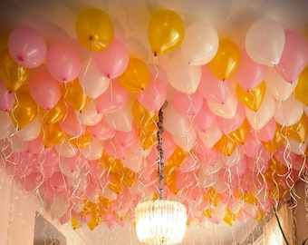 11 inch Gold, Light Pink and White latex ceiling balloons