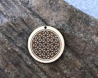 Sacred Geometry: Flower of Life Wooden Pendant
