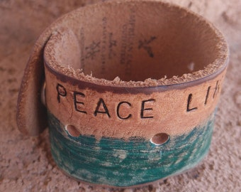 Leather Cuff Bracelet, Peace like a River, Hymn, Christian, Hand Stamped, Handpainted, Upcycled Belt Bracelet, Gift Jewelry