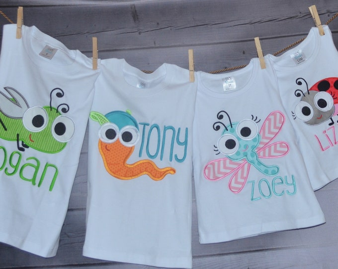 Featured listing image: Personalized Big Eyed Bug Applique Shirt or Bodysuit Boy or Girl
