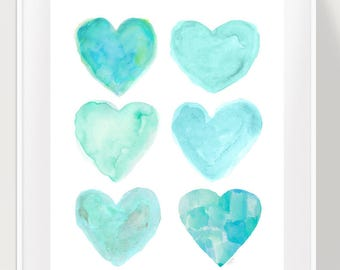 Turquoise Girls Print, Seafoam Green Wall Decor, Beach Nursery Print, 11x14 Watercolor Print, Aqua Nursery Art, Turquoise Nursery, Coastal