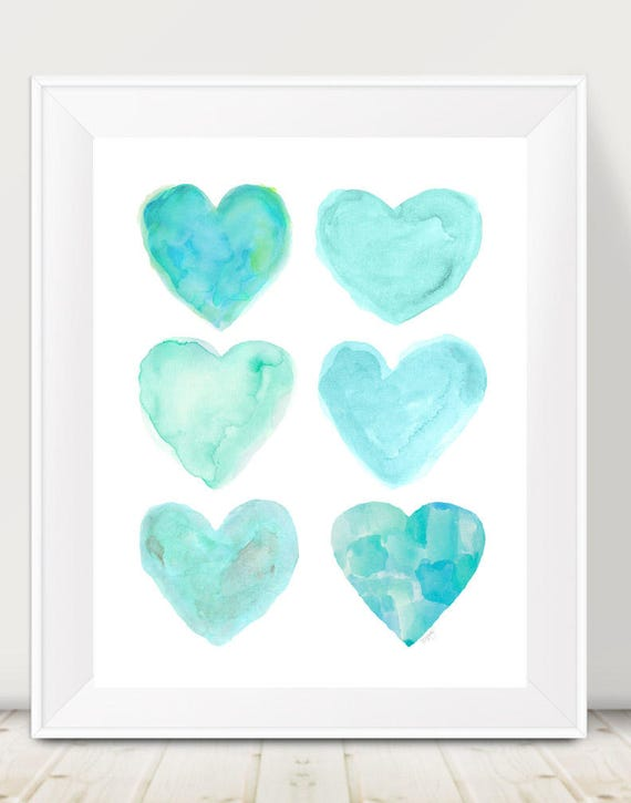 Seafoam Green Print, 11x14 Watercolor Hearts Print