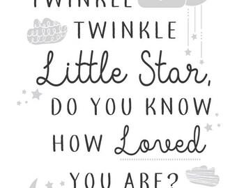 Twinkle Twinkle Little Star Nursery or Child Wall Print