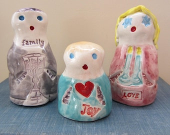 Shabbat Family Set of 3 Golems Gift Magical Mystical Protector Ceramic Figurines One of a Kind Made in Israel