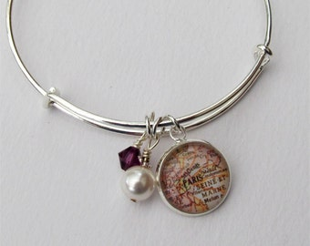 Custom Map Bracelet, Expandable Bangle Bracelet, Charm Bracelet, Map Jewelry