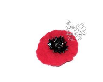 Poppy flanders field felted brooch hair jewelry clip textil art fiber art red flower hairbun boho style bohemian accessory unique gift