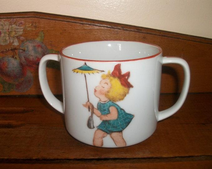 Cup / handles / handpainted porcelain / / girl