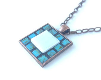 Turquoise and white copper necklace, copper pendant, mosaic jewelry, mosaic pendant, turquoise beads, unique gift, statement necklace, funky