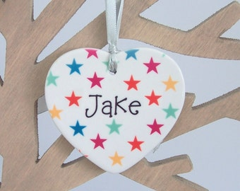 Personalized Ceramic Heart Christmas Tree Decoration - Xmas Tree Ornament Personalised With Name
