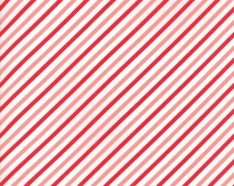 VINTAGE HOLIDAY Bonnie & Camille Vintage Christmas Bias Candy Stripe Red / Pink 1 Yard Moda Fabric