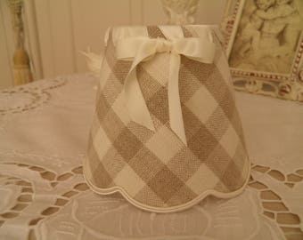 lamp shade for applique and chandelier 100% linen, gingham
