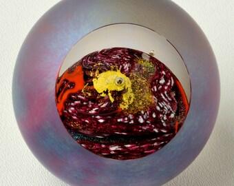 "Artist Signed Art Glass Sculpture from GES Glass Eye Studio ""Mars"" Celestial Series"
