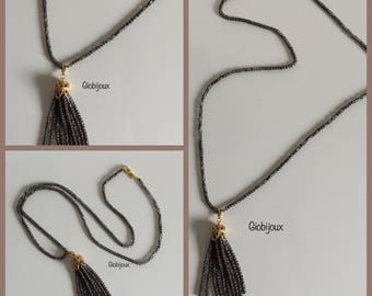 TASSEL NECKLACE Long necklace of crystals with handmade tassel