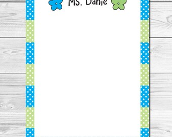 Personalized Stationery for Teachers, Personalized Notepad, Teacher Appreciation Gift, Floral Notepad, Memo Pad, Back to School Stationery