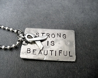 STRONG IS BEAUTIFUL Survivor Ribbon Necklace - Breast Cancer Awareness Ribbon Jewelry - Dog Tag Style on Ball Chain - Strong Women - Fight