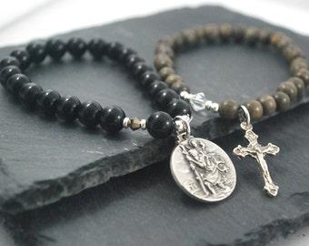 St Christopher Bracelets. Safe travels / Farewell gift, lovely idea for travellers. Mens bracelet set. Wood and black onyx Saint bracelets