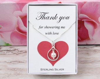 Hostess gift for bridal shower baby shower hostess, sterling silver Swarovski pearl infinity necklace, thank you for showering me with love