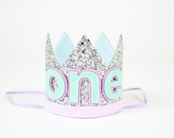 Mermaid Cake Smash First Birthday Crown | 1st Birthday Baby Girl Hat of Glitter | Photo Prop | Silver + Purple + Blue + Mint ONE