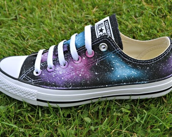 Pink Galaxy Low Tops, Pink Sky, Constellation Gift, Galaxy Converse, Nebula Sneakers, Custom Painted Shoes, Custom Converse