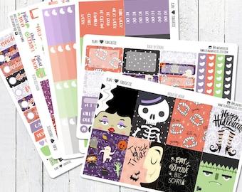 Halloween Planner Sticker Kit, October Weekly Stickers, for use in Erin Condren Life Planner™
