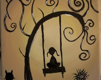 Whimsical, girl on swing painting