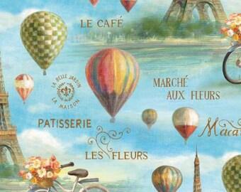 Wilmington Prints Le Cafe Multi Eiffel Scenic Fabric - 1 yard