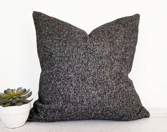 Black Throw Pillows, Wool Pillow Cover, Tweed, Black Pillow, Decorative Pillows, Textured, Long Lumbar, Zipper, 12x18, 14x26, 18x18, 20x20