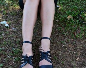 Ancient Greek Sandals, Black Leather Sandals, Women Leather Sandals, Summer Sandals ''Iphigenia''