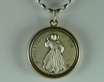 Divine mercy medal necklace divine jesus mercy gold oval divine mercy necklace christian necklace divine mercy medal necklace catholic charm necklace christian jewelry religious necklace aloadofball Gallery