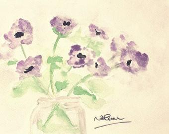 watercolour violet flower print, flower painting, purple floral art, home decor, watercolour prints, wall art, spring flowers, original art