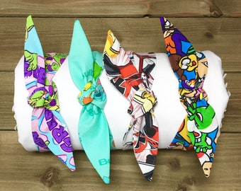 SPECIAL- Ninja Turtles Headband Pokemon Headband Power Rangers Headband Nintendo Headband Tie Knot Mother Daughter Matching Headbands