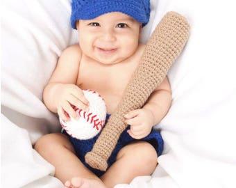 Crochet LA Dodgers Baby Photo Prop,outfit-crochet-baseball-cap-diaper cover-ball-bat-toy-rattle-royal blue-photo-prop-babyshower gift