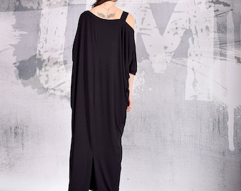 black Dress, Loose Dress, Maxi Dress, Long Dress, Baggy dress, Kaftan dress, Roomy Dress, Minimalist Dress, Caftan, UrbanMood, Um-193-VL