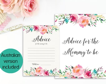 Advice For Mommy To Be, Advice For Mom Card, Advice For Mom To Be Sign, Advice For Mommy, Advice For Parents To Be, DIY Baby Shower Games