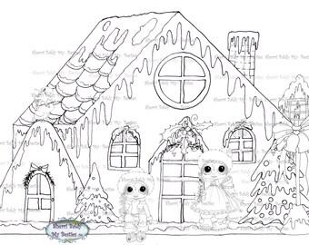 INSTANT DOWNLOAD Digi Stamps Big Eye Big hoofd poppen Digi Bestie Vintage Christmas House door Sherri Baldy