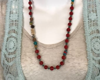Bohemian Carved Bead Necklace and Earring Set